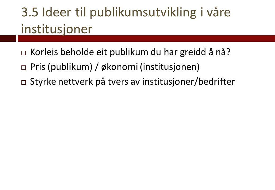 3.5 Ideer til publikumsutvikling i våre institusjoner  Korleis beholde eit publikum du har greidd å nå?  Pris (publikum) / økonomi (institusjonen) 