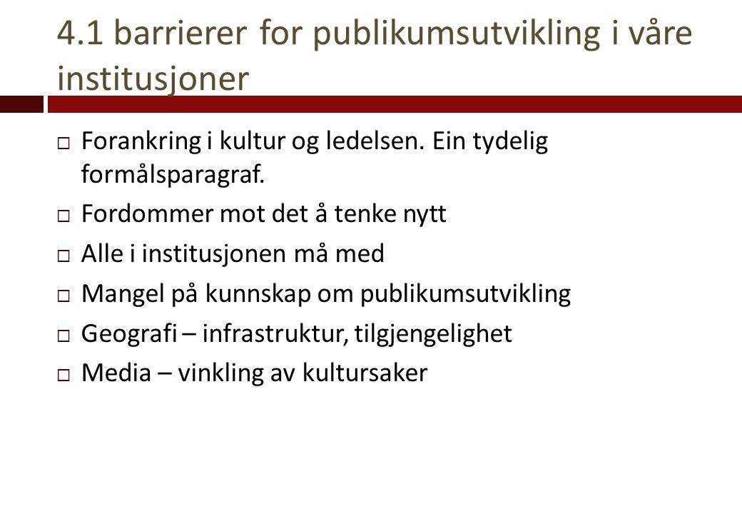4.1 barrierer for publikumsutvikling i våre institusjoner  Forankring i kultur og ledelsen. Ein tydelig formålsparagraf.  Fordommer mot det å tenke