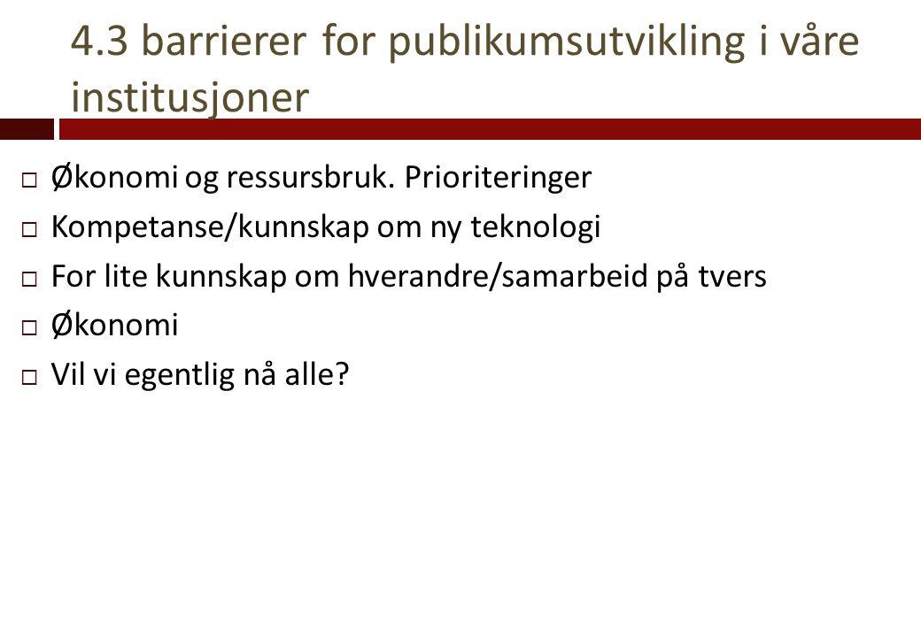 4.3 barrierer for publikumsutvikling i våre institusjoner  Økonomi og ressursbruk. Prioriteringer  Kompetanse/kunnskap om ny teknologi  For lite ku
