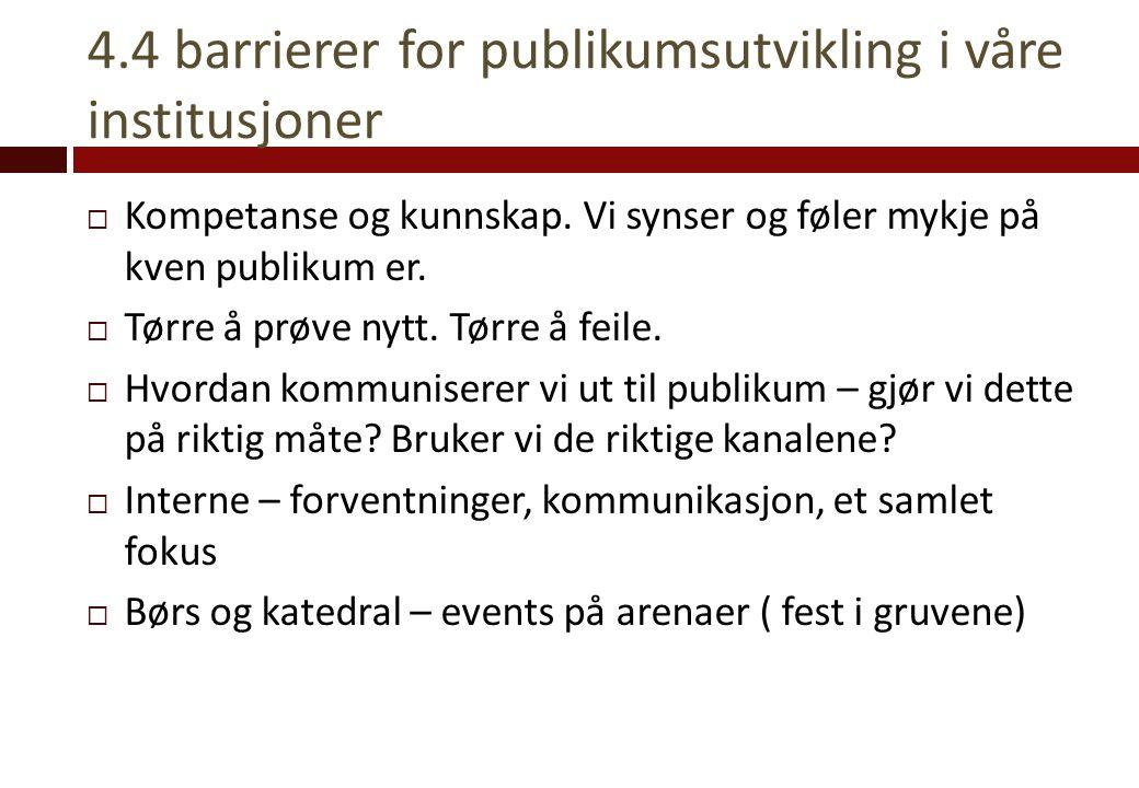 4.4 barrierer for publikumsutvikling i våre institusjoner  Kompetanse og kunnskap. Vi synser og føler mykje på kven publikum er.  Tørre å prøve nytt
