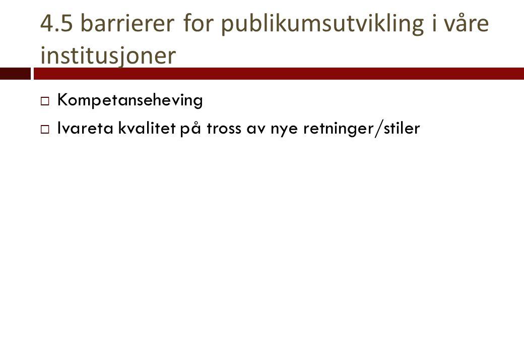 4.5 barrierer for publikumsutvikling i våre institusjoner  Kompetanseheving  Ivareta kvalitet på tross av nye retninger/stiler
