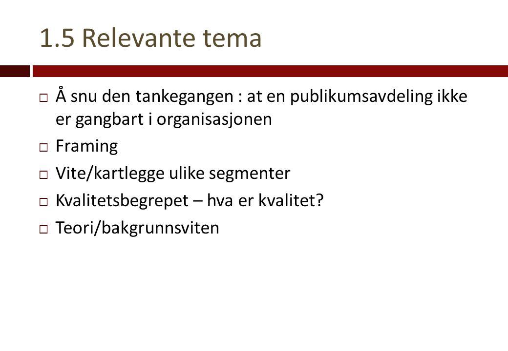 1.5 Relevante tema  Å snu den tankegangen : at en publikumsavdeling ikke er gangbart i organisasjonen  Framing  Vite/kartlegge ulike segmenter  Kv