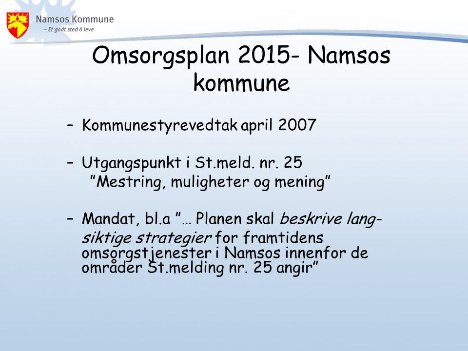 """Omsorgsplan 2015- Namsos kommune –Kommunestyrevedtak april 2007 –Utgangspunkt i St.meld. nr. 25 """"Mestring, muligheter og mening"""" –Mandat, bl.a """"… Plan"""