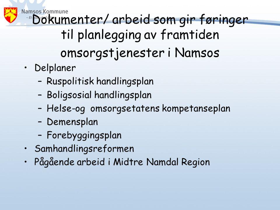 Dokumenter/ arbeid som gir føringer til planlegging av framtiden omsorgstjenester i Namsos •Delplaner –Ruspolitisk handlingsplan –Boligsosial handling