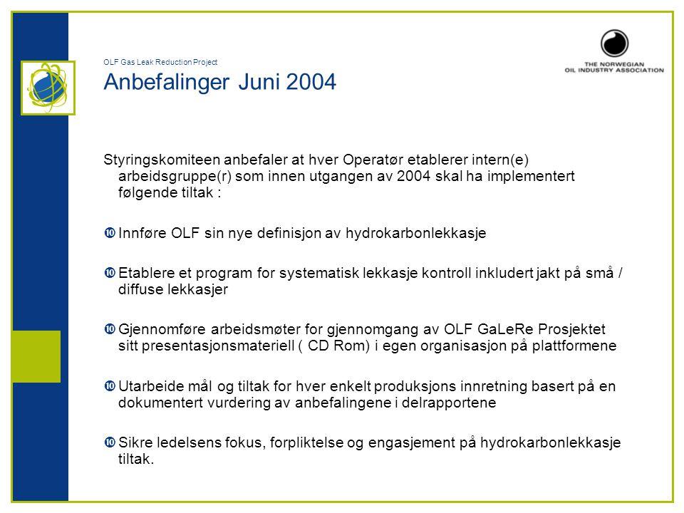 OLF Gas Leak Reduction Project Anbefalinger Juni 2004 Styringskomiteen anbefaler at hver Operatør etablerer intern(e) arbeidsgruppe(r) som innen utgan