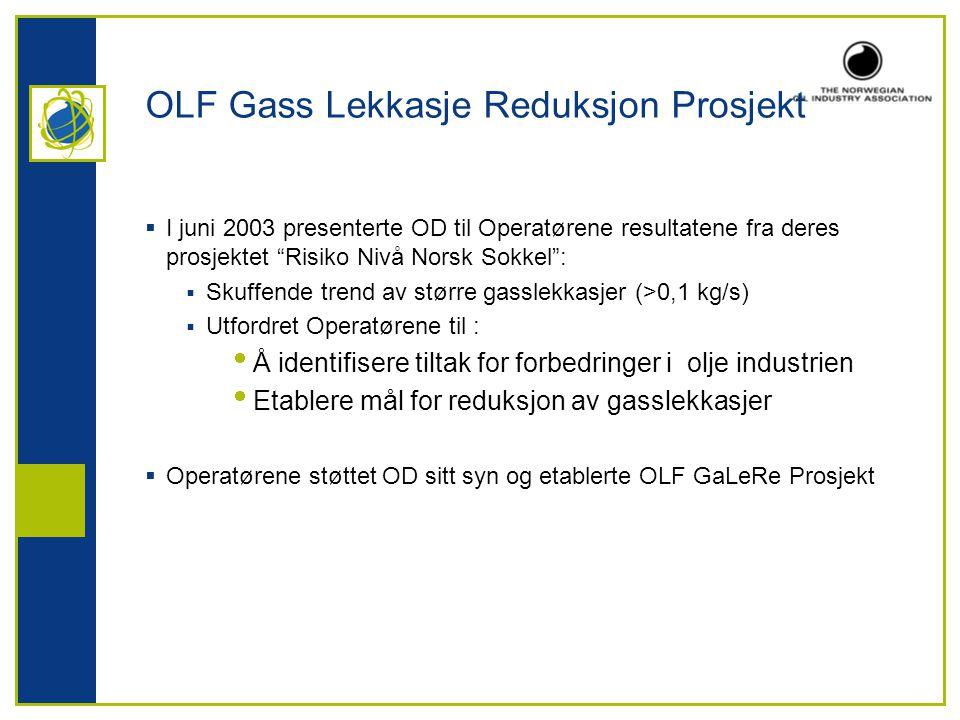 OLF Gass Lekkasje Reduksjon Prosjekt  I juni 2003 presenterte OD til Operatørene resultatene fra deres prosjektet Risiko Nivå Norsk Sokkel :  Skuffende trend av større gasslekkasjer (>0,1 kg/s)  Utfordret Operatørene til :  Å identifisere tiltak for forbedringer i olje industrien  Etablere mål for reduksjon av gasslekkasjer  Operatørene støttet OD sitt syn og etablerte OLF GaLeRe Prosjekt