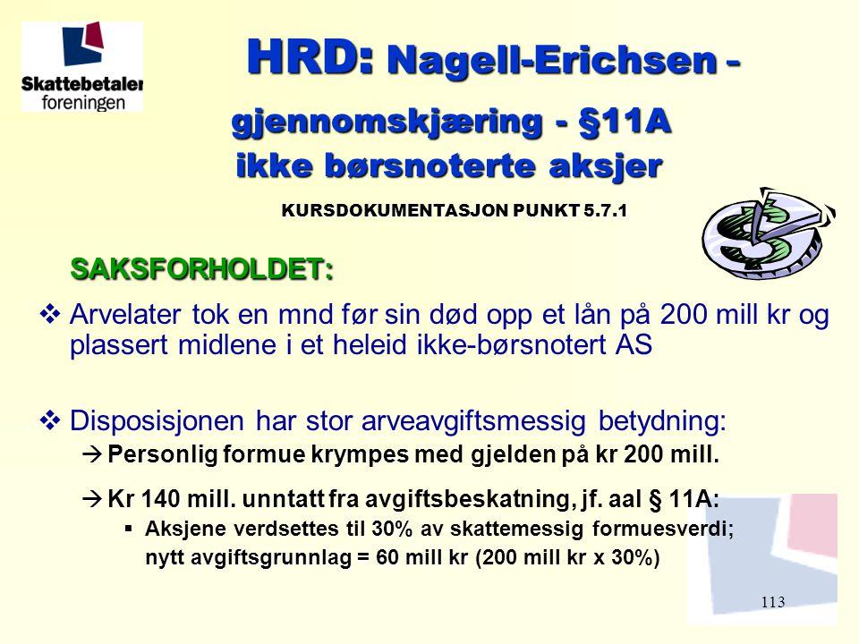 113 HRD: Nagell-Erichsen - HRD: Nagell-Erichsen - gjennomskjæring - §11A gjennomskjæring - §11A ikke børsnoterte aksjer ikke børsnoterte aksjer KURSDO