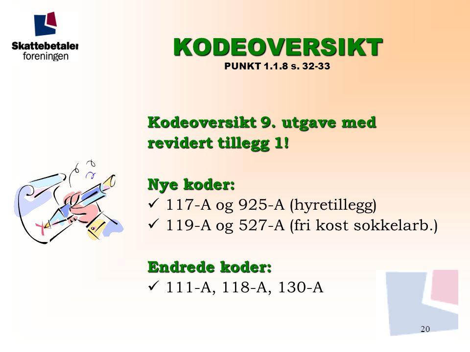 20 KODEOVERSIKT KODEOVERSIKT PUNKT 1.1.8 s. 32-33 Kodeoversikt 9. utgave med revidert tillegg 1! Nye koder:  117-A og 925-A (hyretillegg)  119-A og
