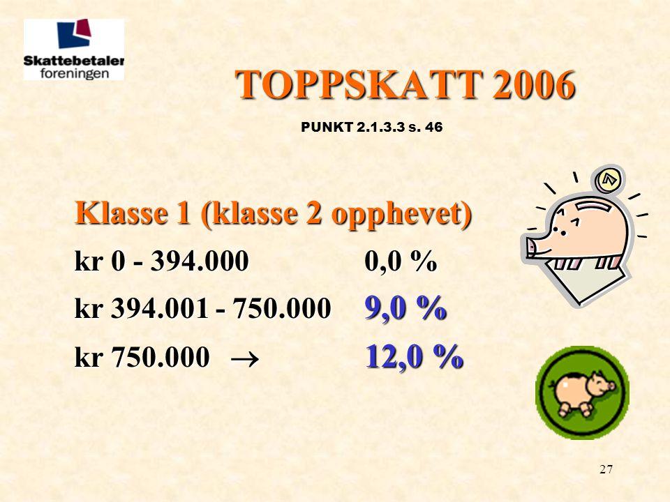 27 TOPPSKATT 2006 PUNKT 2.1.3.3 s. 46 Klasse 1 (klasse 2 opphevet) kr 0 - 394.000 0,0 % kr 394.001 - 750.000 9,0 % kr 750.000  12,0 %