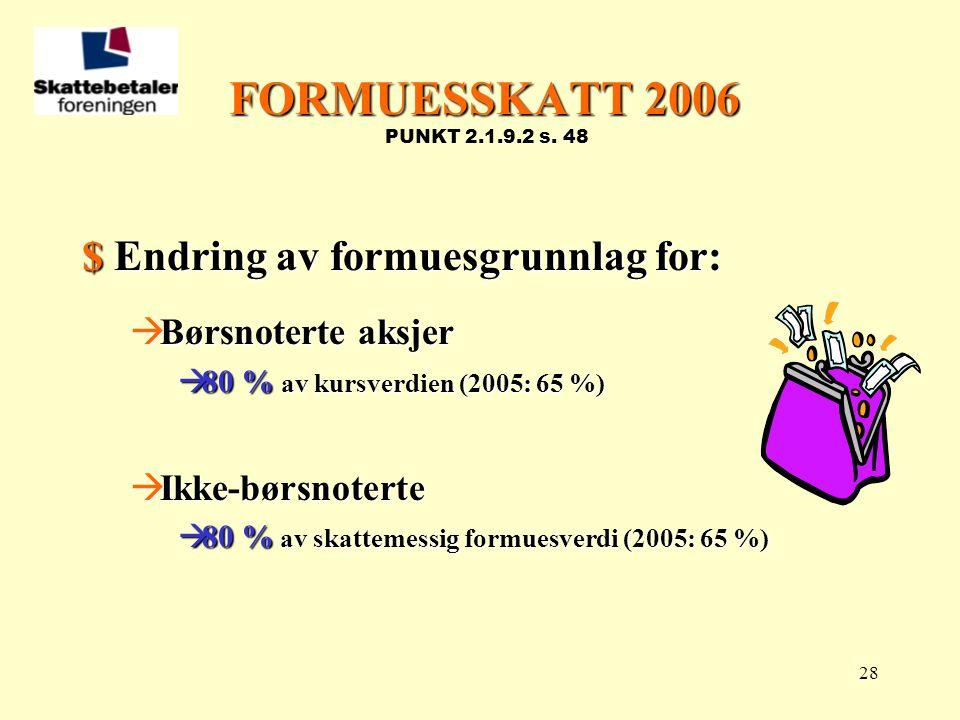 28 FORMUESSKATT 2006 FORMUESSKATT 2006 PUNKT 2.1.9.2 s. 48 $ Endring av formuesgrunnlag for:  Børsnoterte aksjer  80 % av kursverdien (2005: 65 %) 