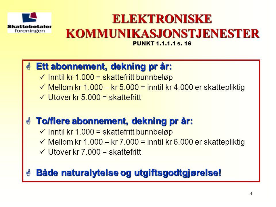 4 ELEKTRONISKE KOMMUNIKASJONSTJENESTER ELEKTRONISKE KOMMUNIKASJONSTJENESTER PUNKT 1.1.1.1 s. 16  Ett abonnement, dekning pr år:  Inntil kr 1.000 = s