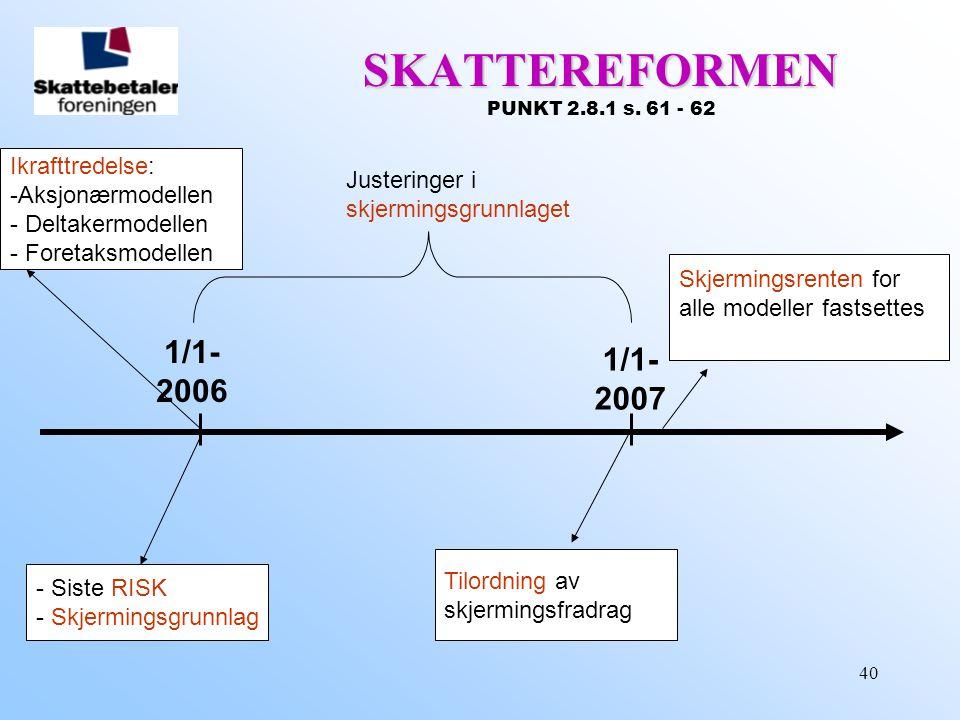 40 1/1- 2007 1/1- 2006 SKATTEREFORMEN SKATTEREFORMEN PUNKT 2.8.1 s. 61 - 62 - Siste RISK - Skjermingsgrunnlag Tilordning av skjermingsfradrag Ikrafttr