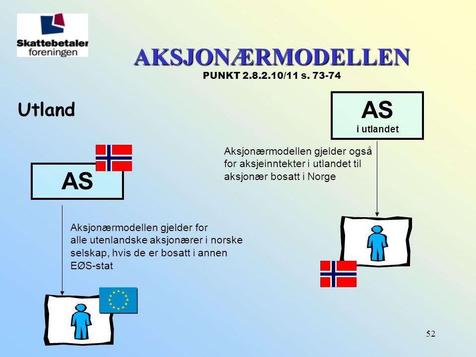 52 AKSJONÆRMODELLEN AKSJONÆRMODELLEN PUNKT 2.8.2.10/11 s. 73-74 Utland AS i utlandet Aksjonærmodellen gjelder for alle utenlandske aksjonærer i norske