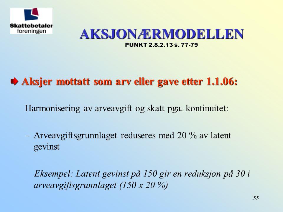 55 AKSJONÆRMODELLEN AKSJONÆRMODELLEN PUNKT 2.8.2.13 s. 77-79 Aksjer mottatt som arv eller gave etter 1.1.06: Harmonisering av arveavgift og skatt pga.