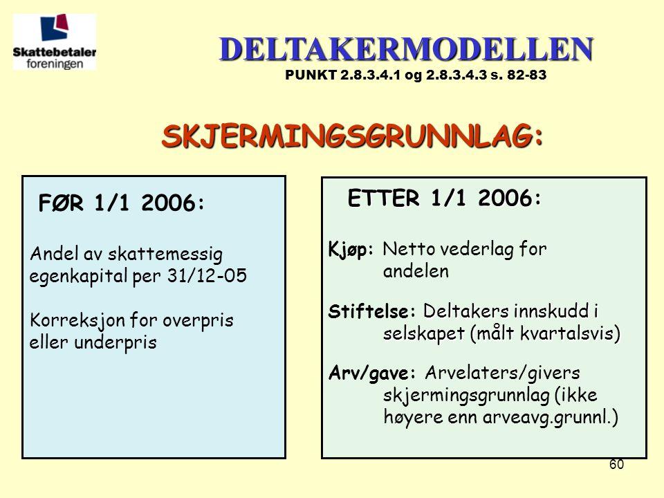 60 FØR 1/1 2006: Andel av skattemessig egenkapital per 31/12-05 Korreksjon for overpris eller underpris ETTER 1/1 2006: ETTER 1/1 2006: Kjøp: Netto ve