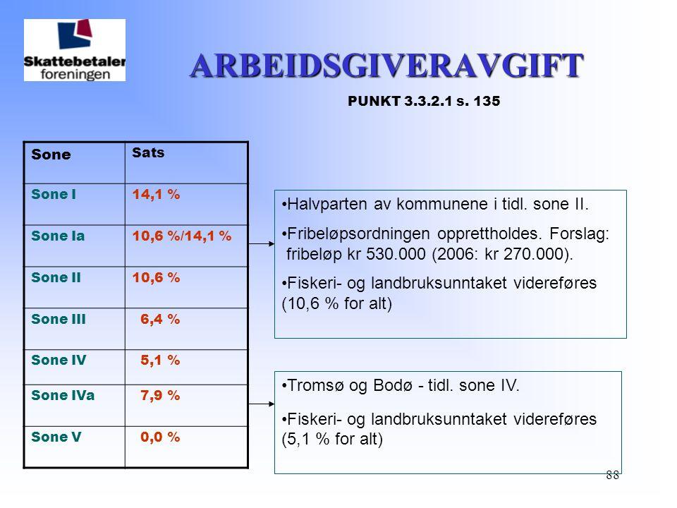 88 ARBEIDSGIVERAVGIFT ARBEIDSGIVERAVGIFT PUNKT 3.3.2.1 s. 135 Sone Sats Sone I14,1 % Sone Ia10,6 %/14,1 % Sone II10,6 % Sone III 6,4 % Sone IV 5,1 % S