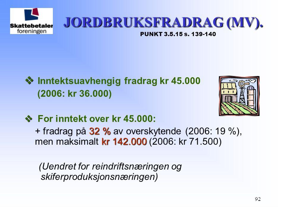 92 JORDBRUKSFRADRAG (MV). JORDBRUKSFRADRAG (MV). PUNKT 3.5.15 s. 139-140   Inntektsuavhengig fradrag kr 45.000 (2006: kr 36.000)   For inntekt ove