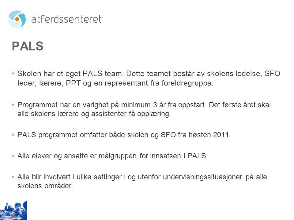PALS •Skolen har et eget PALS team. Dette teamet består av skolens ledelse, SFO leder, lærere, PPT og en representant fra foreldregruppa. •Programmet