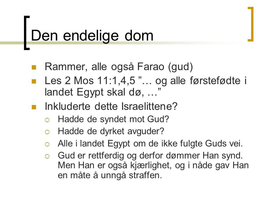 """Den endelige dom  Rammer, alle også Farao (gud)  Les 2 Mos 11:1,4,5 """"… og alle førstefødte i landet Egypt skal dø, …""""  Inkluderte dette Israelitten"""