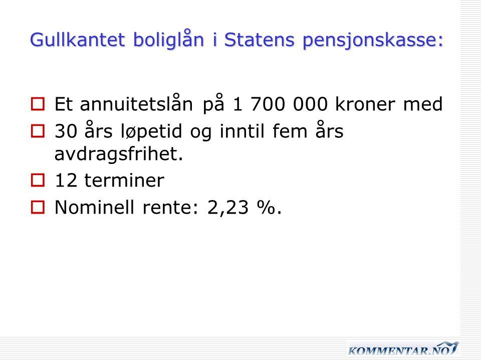 Gullkantet boliglån i Statens pensjonskasse:  Et annuitetslån på 1 700 000 kroner med  30 års løpetid og inntil fem års avdragsfrihet.  12 terminer