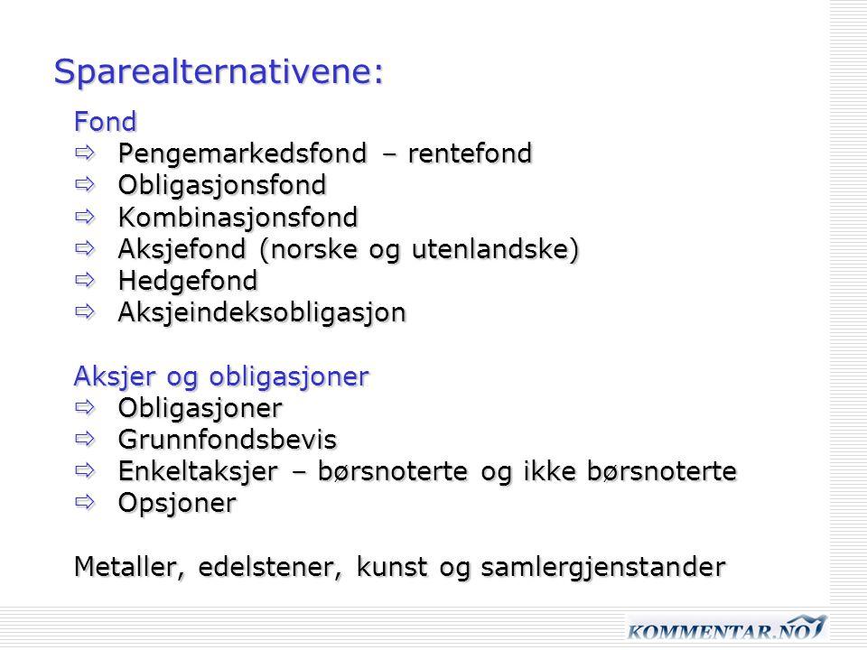 Sparealternativene: Fond  Pengemarkedsfond – rentefond  Obligasjonsfond  Kombinasjonsfond  Aksjefond (norske og utenlandske)  Hedgefond  Aksjein