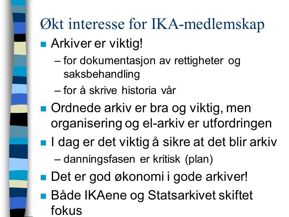 Økt interesse for IKA-medlemskap n Arkiver er viktig.