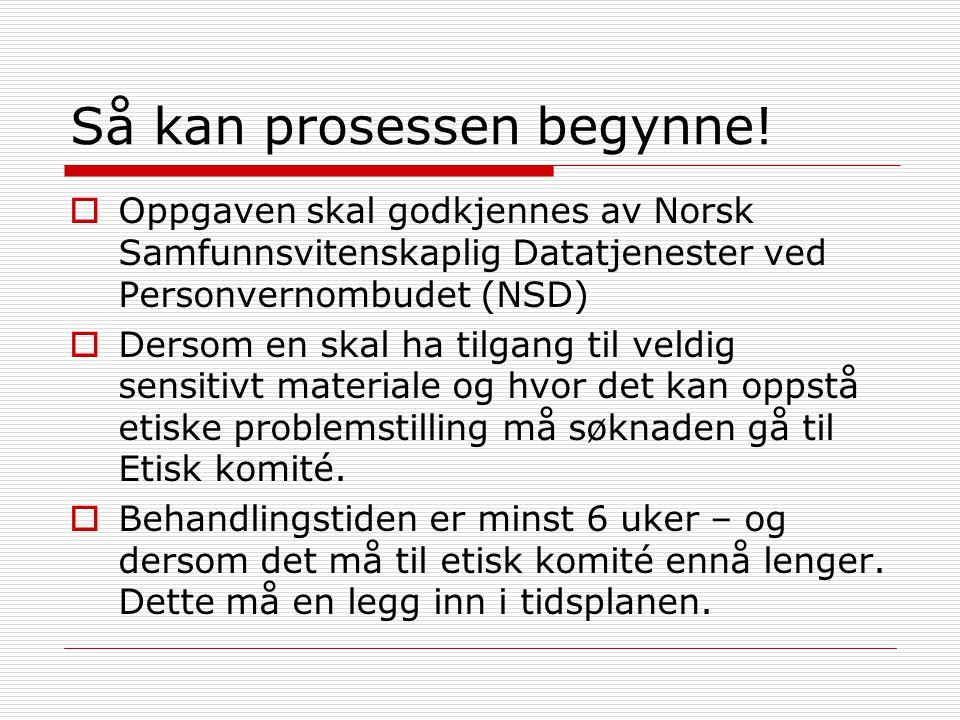 Så kan prosessen begynne!  Oppgaven skal godkjennes av Norsk Samfunnsvitenskaplig Datatjenester ved Personvernombudet (NSD)  Dersom en skal ha tilga