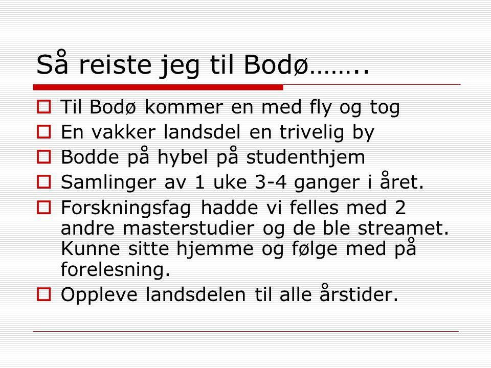 Så reiste jeg til Bodø……..  Til Bodø kommer en med fly og tog  En vakker landsdel en trivelig by  Bodde på hybel på studenthjem  Samlinger av 1 uk
