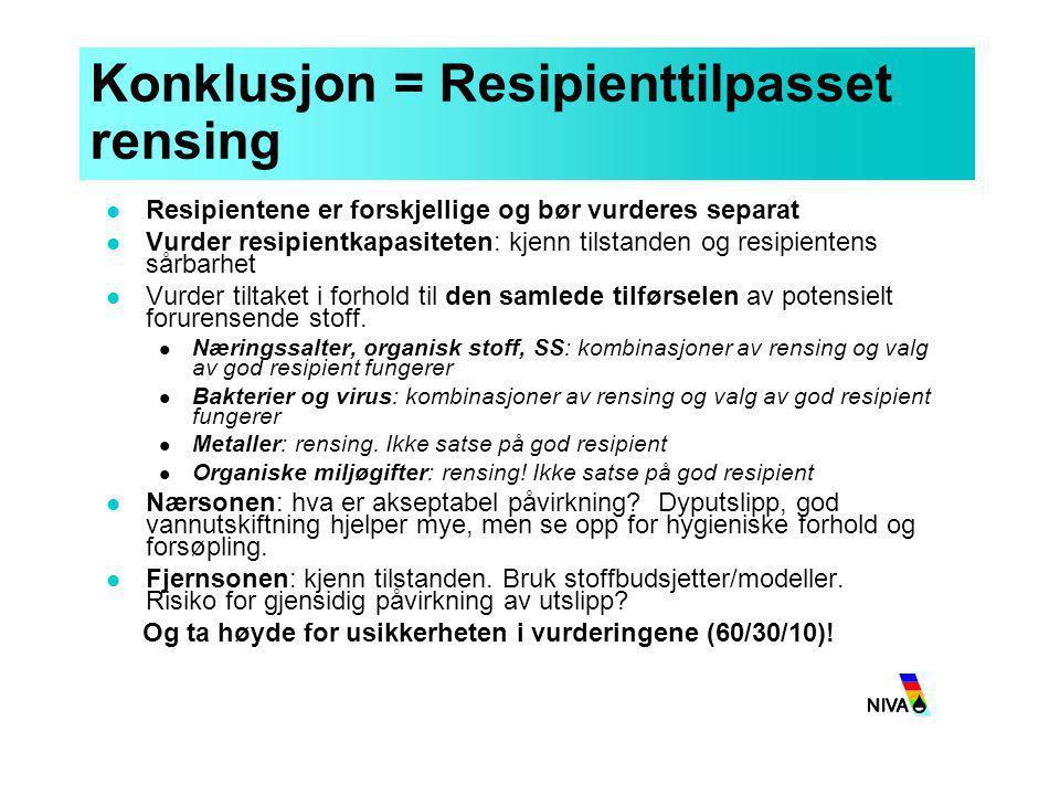 Konklusjon = Resipienttilpasset rensing  Resipientene er forskjellige og bør vurderes separat  Vurder resipientkapasiteten: kjenn tilstanden og resi