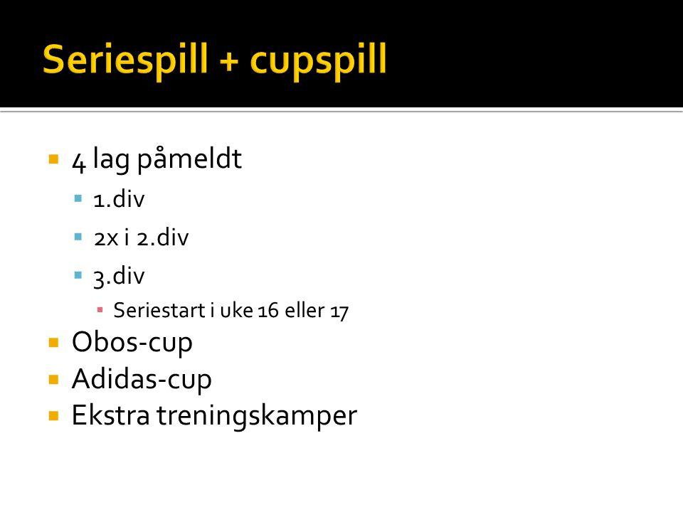  4 lag påmeldt  1.div  2x i 2.div  3.div ▪ Seriestart i uke 16 eller 17  Obos-cup  Adidas-cup  Ekstra treningskamper