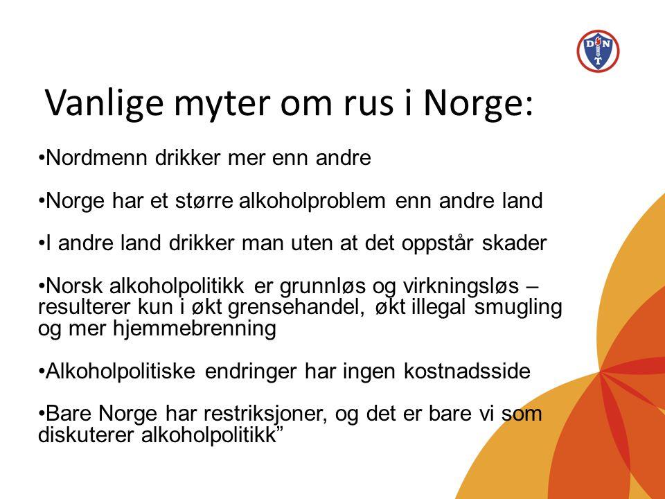 Vanlige myter om rus i Norge: •Nordmenn drikker mer enn andre •Norge har et større alkoholproblem enn andre land •I andre land drikker man uten at det