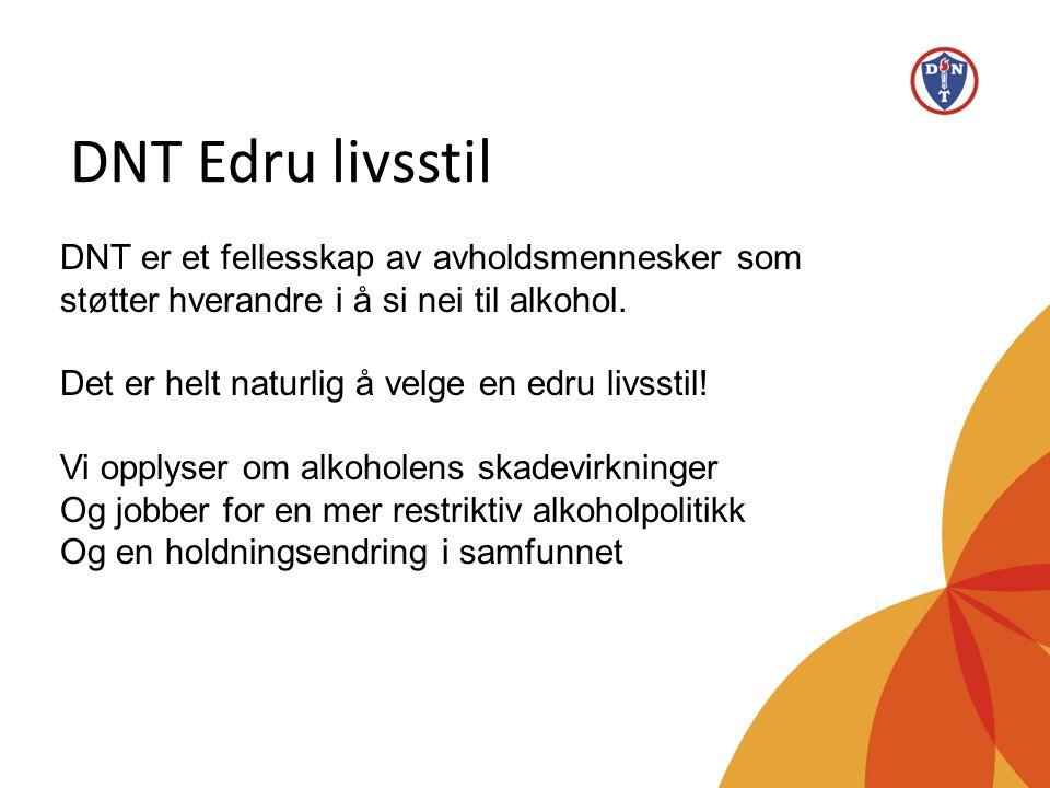 DNT Edru livsstil •Frivillig organisasjon med over 2000 medlemmer i 19 fylker og mer enn 50 lokale grupper •Startet i 1859 i Stavanger (130 000 medlemmer i 1913) •Medlemsbladet Menneskevennen (1861) •www.dnt.nowww.dnt.no