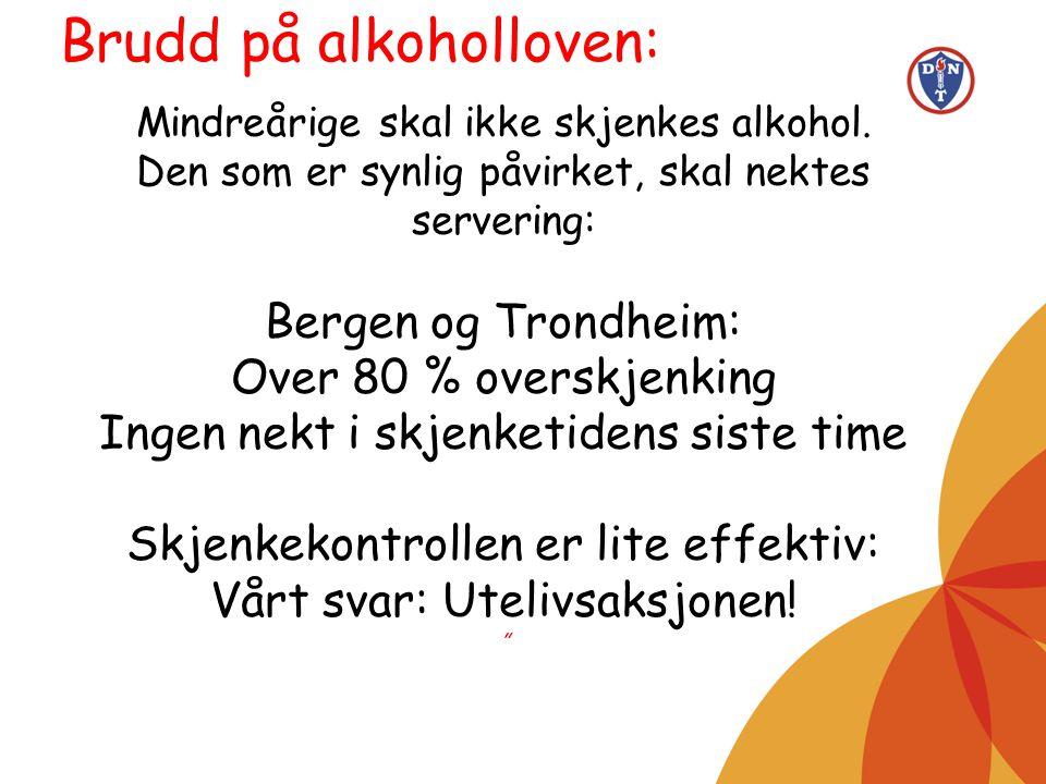 Mindreårige skal ikke skjenkes alkohol. Den som er synlig påvirket, skal nektes servering: Bergen og Trondheim: Over 80 % overskjenking Ingen nekt i s