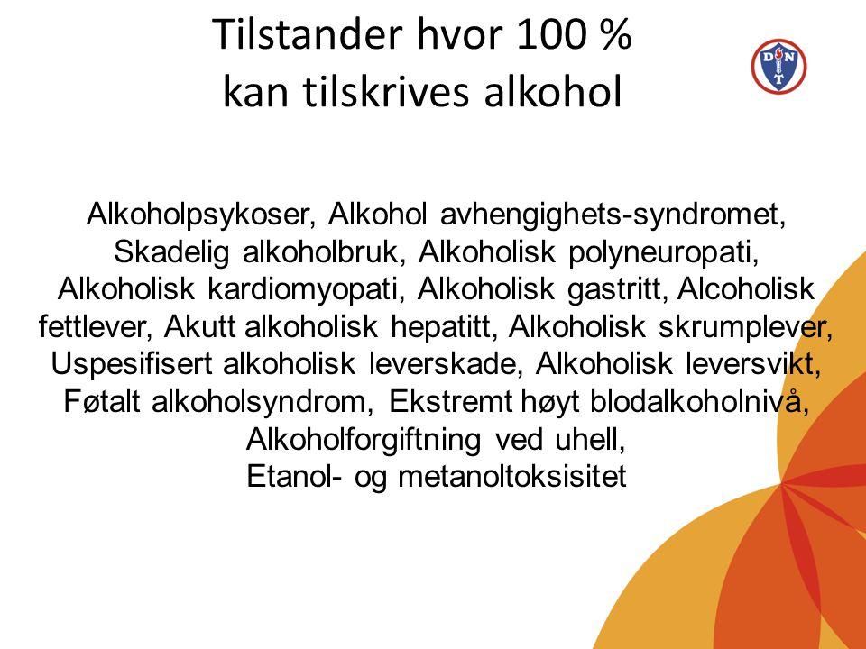 Tilstander hvor 100 % kan tilskrives alkohol Alkoholpsykoser, Alkohol avhengighets-syndromet, Skadelig alkoholbruk, Alkoholisk polyneuropati, Alkoholi