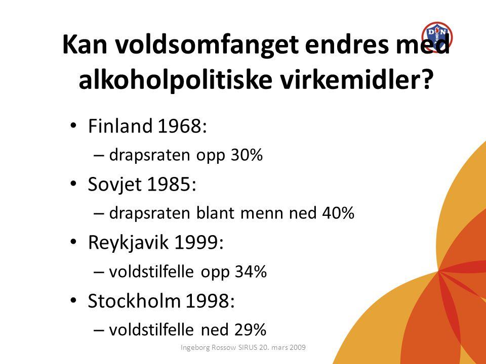 Kan voldsomfanget endres med alkoholpolitiske virkemidler? • Finland 1968: – drapsraten opp 30% • Sovjet 1985: – drapsraten blant menn ned 40% • Reykj