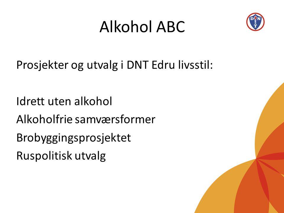 Alkohol ABC Prosjekter og utvalg i DNT Edru livsstil: Idrett uten alkohol Alkoholfrie samværsformer Brobyggingsprosjektet Ruspolitisk utvalg