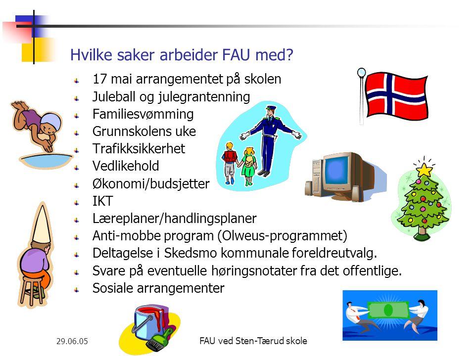 29.06.05 FAU ved Sten-Tærud skole Hvilke saker arbeider FAU med.