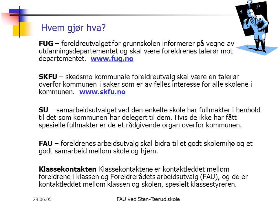 29.06.05 FAU ved Sten-Tærud skole Hvem gjør hva? FUG – foreldreutvalget for grunnskolen informerer på vegne av utdanningsdepartementet og skal være fo