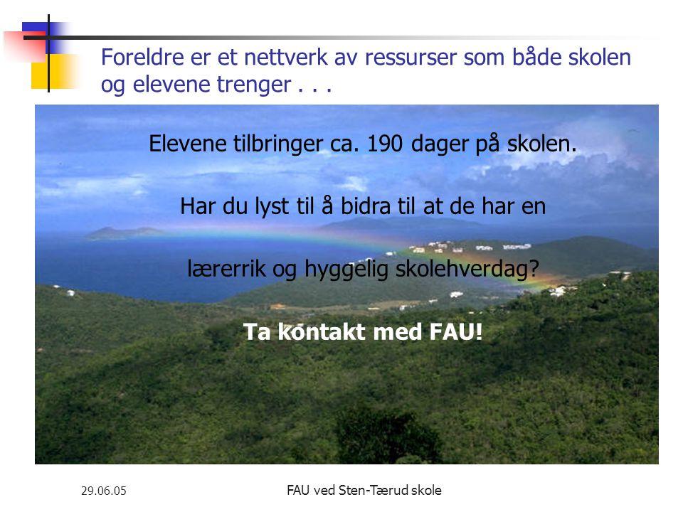29.06.05 FAU ved Sten-Tærud skole Foreldre er et nettverk av ressurser som både skolen og elevene trenger... Elevene tilbringer ca. 190 dager på skole