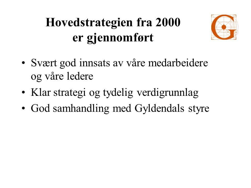 Hovedstrategien fra 2000 er gjennomført •Svært god innsats av våre medarbeidere og våre ledere •Klar strategi og tydelig verdigrunnlag •God samhandling med Gyldendals styre