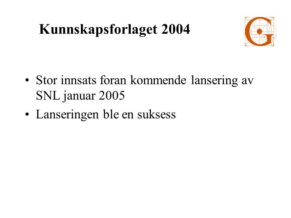 •Stor innsats foran kommende lansering av SNL januar 2005 •Lanseringen ble en suksess Kunnskapsforlaget 2004