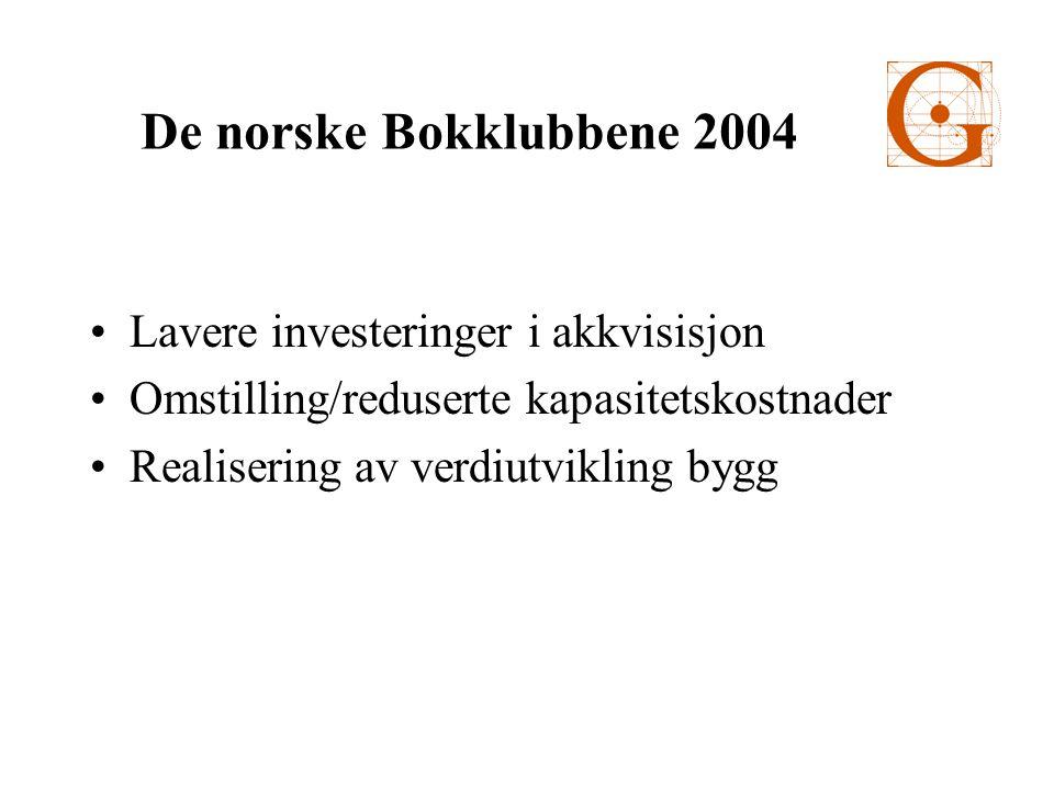 •Lavere investeringer i akkvisisjon •Omstilling/reduserte kapasitetskostnader •Realisering av verdiutvikling bygg De norske Bokklubbene 2004