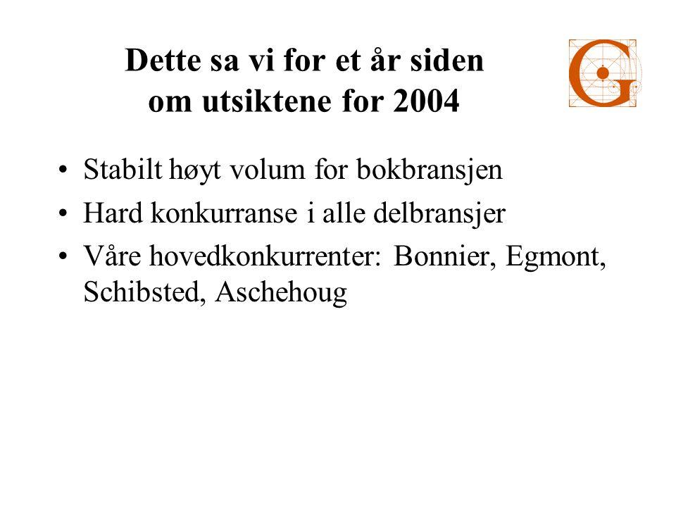 Dette sa vi for et år siden om utsiktene for 2004 •Stabilt høyt volum for bokbransjen •Hard konkurranse i alle delbransjer •Våre hovedkonkurrenter: Bonnier, Egmont, Schibsted, Aschehoug