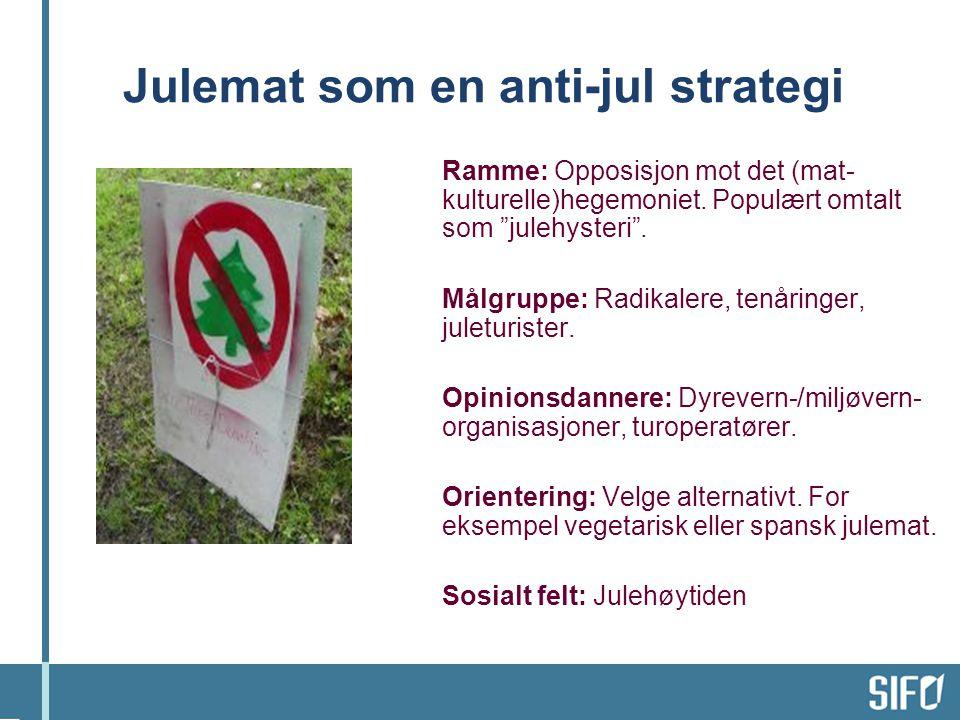 Julemat som en anti-jul strategi Ramme: Opposisjon mot det (mat- kulturelle)hegemoniet.