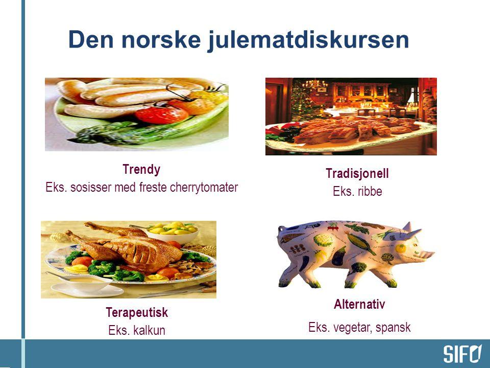 Den norske julematdiskursen Trendy Eks.sosisser med freste cherrytomater Tradisjonell Eks.