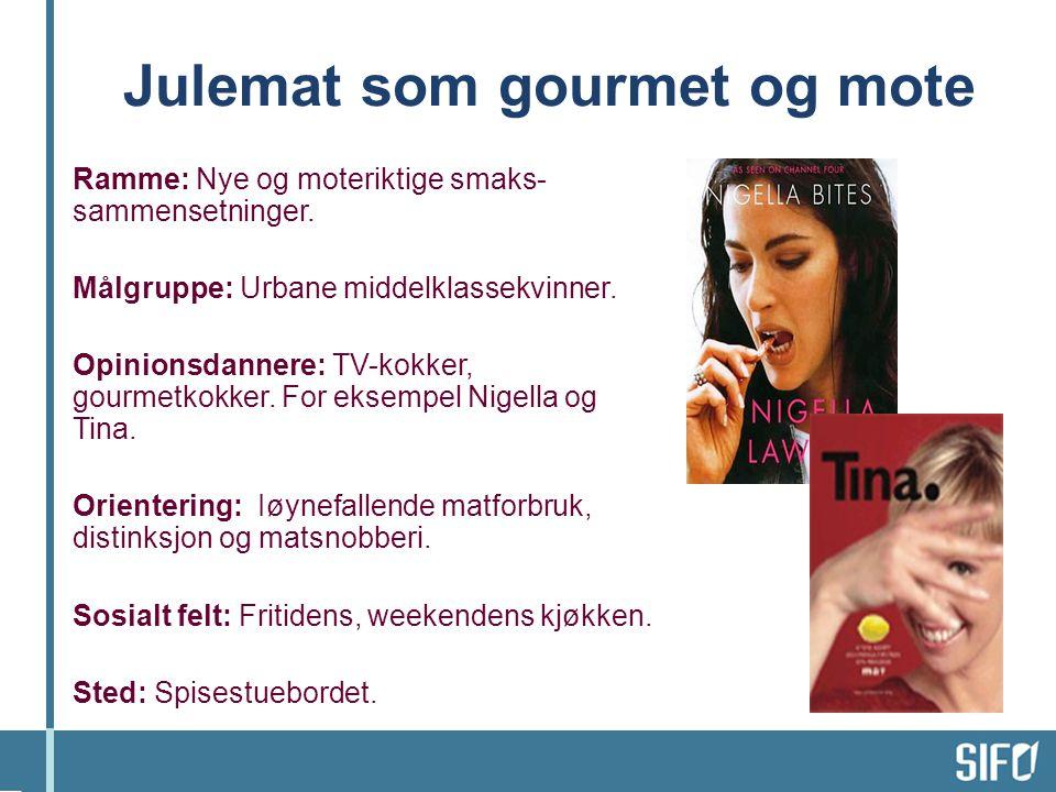 Ramme: Nye og moteriktige smaks- sammensetninger.Målgruppe: Urbane middelklassekvinner.