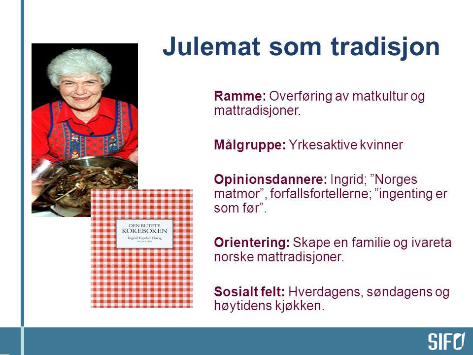 Ramme: Overføring av matkultur og mattradisjoner.