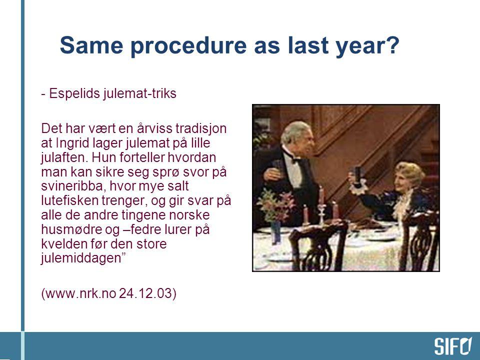 Same procedure as last year.