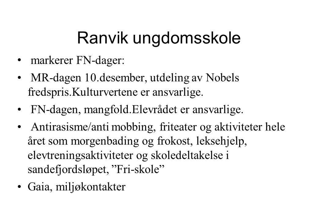 Ranvik ungdomsskole • markerer FN-dager: • MR-dagen 10.desember, utdeling av Nobels fredspris.Kulturvertene er ansvarlige. • FN-dagen, mangfold.Elevrå