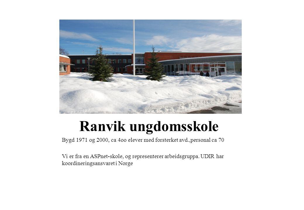 Ranvik ungdomsskole Bygd 1971 og 2000, ca 4oo elever med forsterket avd.,personal ca 70 Vi er fra en ASPnet-skole, og representerer arbeidsgruppa. UDI